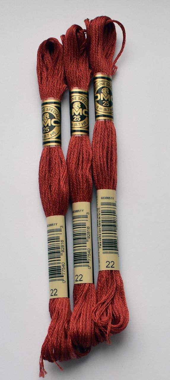 Нитки мулине DMC цвет 22 цвет ализариновый, арт.117