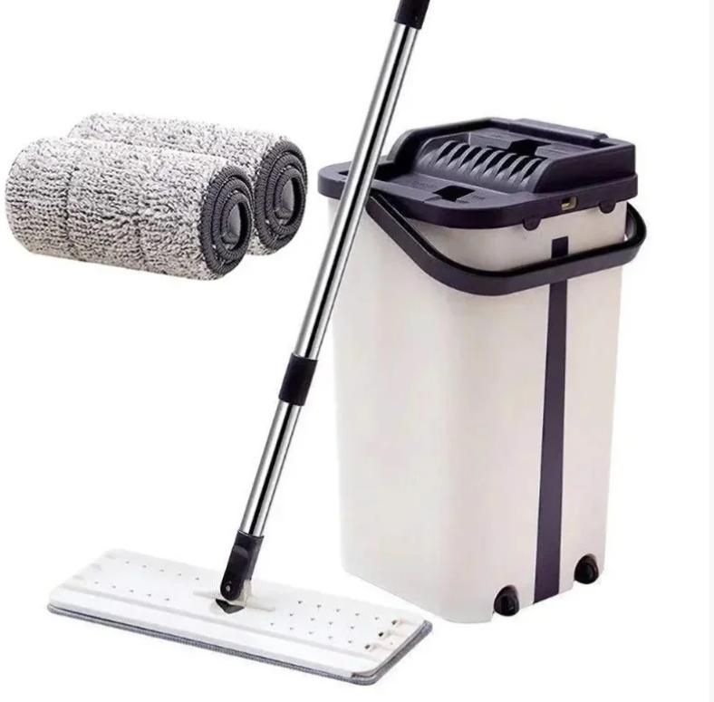 Швабра и Ведро Большое Scratch Cleaning Mop со складной ручкой и системой отжима, две насадки микрофибры