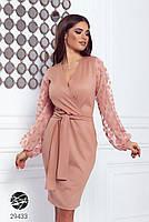 Элегантное нарядное платье на запах с объемными рукавами с 42 по 48 размер, фото 3
