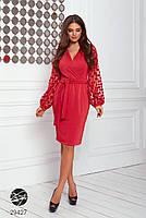 Элегантное нарядное платье на запах с объемными рукавами с 42 по 48 размер, фото 10