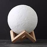 Великий настільний світильник з пультом на акумуляторі 18 см Magic 3D Moon Light RGB Місяць, фото 2