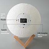 Великий настільний світильник з пультом на акумуляторі 18 см Magic 3D Moon Light RGB Місяць, фото 7