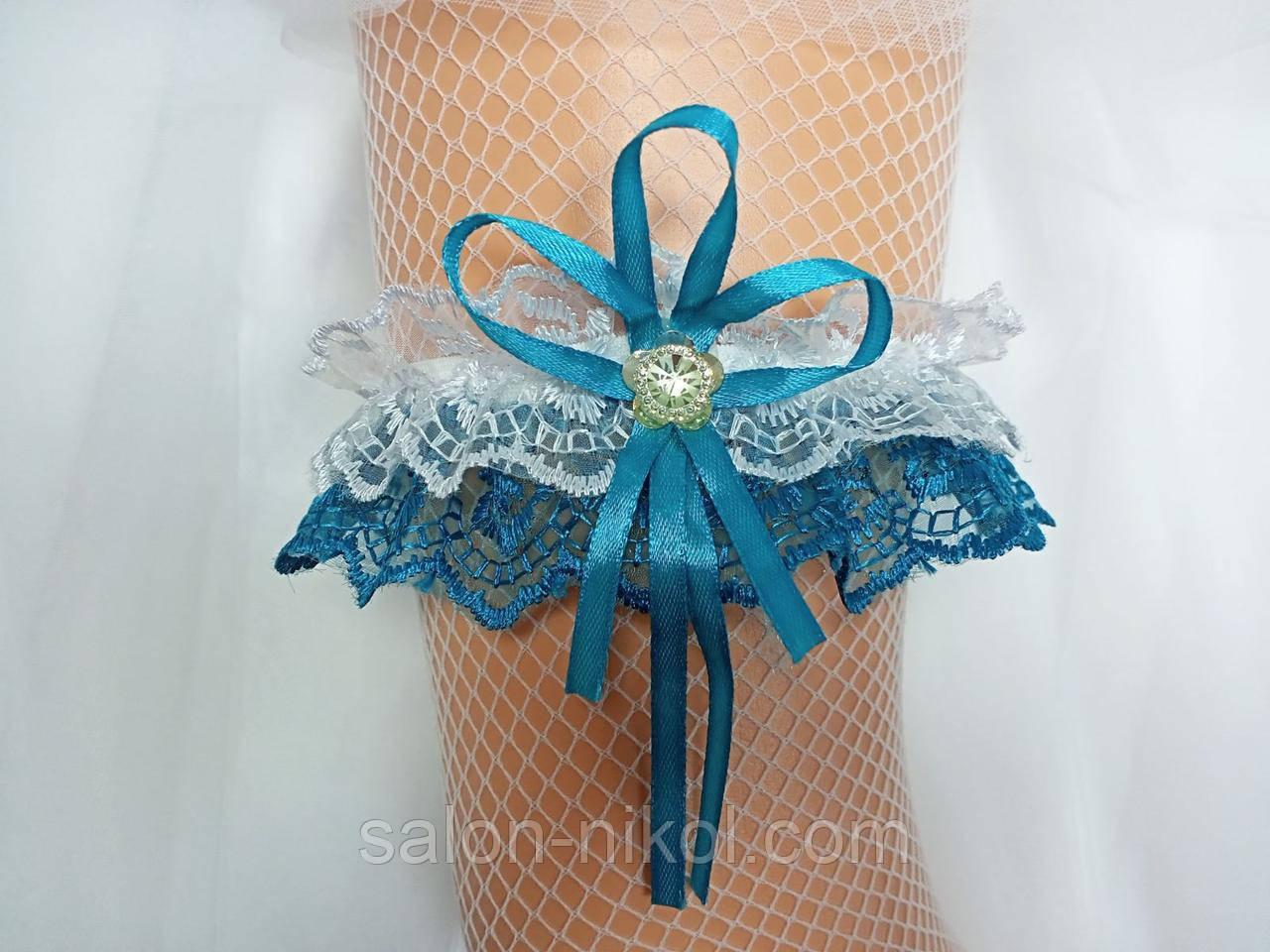 Подвязка для невесты кружевная бирюза