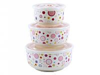 Набір салатників з кришкою  Lumines HH12 300мл,450мл,1000мл.14см.16см 19см