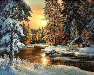 """Набор для вышивания крестиком """"Зимний пейзаж. Лесная река"""" 40х50 см"""