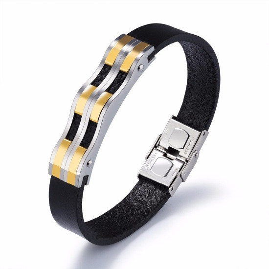 """Кожаный мужской браслет ремешок с вставками из медицинской стали с позолотой """"Джуниор"""""""