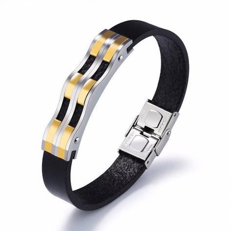 """Кожаный мужской браслет ремешок с вставками из медицинской стали с позолотой """"Джуниор"""", фото 2"""