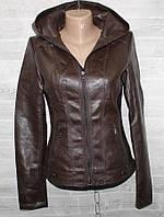 """Куртка жіноча кожзам коротка, комір-капюшон, розміри S-2XL (2цв) """"LANMAS"""" недорого від прямого постачальника"""