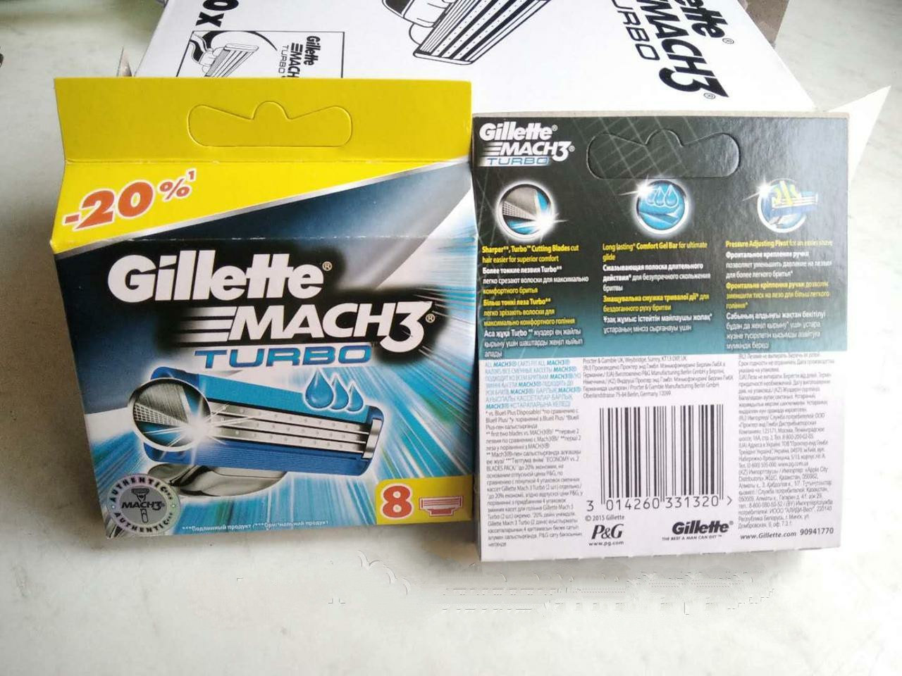 Картриджі, касети, леза Gillette Mach 3 Turbo New \ Жилет Мак 3 Турбо 8 шт