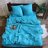 Двуспальное постельное белье Бязь Gold - Однотонное голубая бирюза