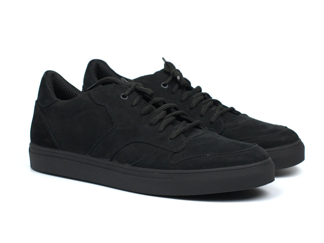 Кроссовки мужские демисезонные черные нубуковые мягкая обувь больших размеров Rosso Avangard ReBaKa NUB TPR BS
