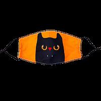 """Маска многоразовая защитная с рисунком """"Черный кот"""", фото 1"""