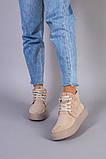Черевики жіночі замшеві бежеві на шнурках демісезонні, фото 5