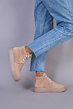 Черевики жіночі замшеві бежеві на шнурках демісезонні, фото 4