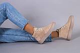 Черевики жіночі замшеві бежеві на шнурках демісезонні, фото 7