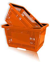 Корзинки покупательские пластиковые для супермаркета оранжевые и др.
