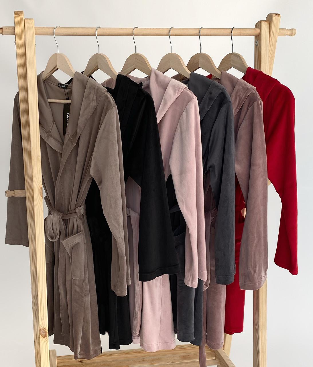 Жіночий плюшевий халат оптом і в роздріб S шоколад