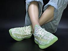Женские кроссовки Adidas Yeezy 350 зеленый, адидас изи буст. Полный рефлектив. ТОП Реплика ААА класса., фото 3