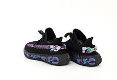 Женские кроссовки Adidas Yeezy 350 черные. Полный рефлектив. ТОП Реплика ААА класса., фото 3