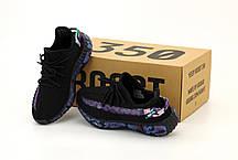 Женские кроссовки Adidas Yeezy 350 черные. Полный рефлектив. ТОП Реплика ААА класса., фото 2