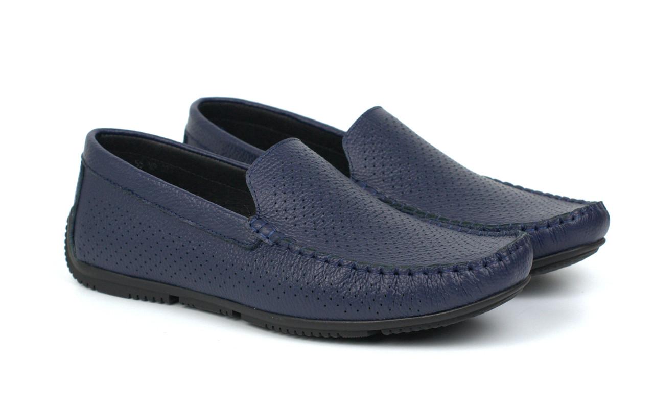 Мокасины мужские синие летняя мягкая кожаная обувь больших размеров Rosso Avangard Perf Blu Floto BS