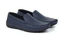 Мокасины мужские синие летняя мягкая кожаная обувь больших размеров Rosso Avangard Perf Blu Floto BS, фото 1