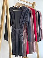 Женский плюшевый халат оптом и в розницу XL графит, фото 1