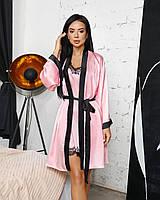 Жіноча атласна піжама (халат+сорочка)