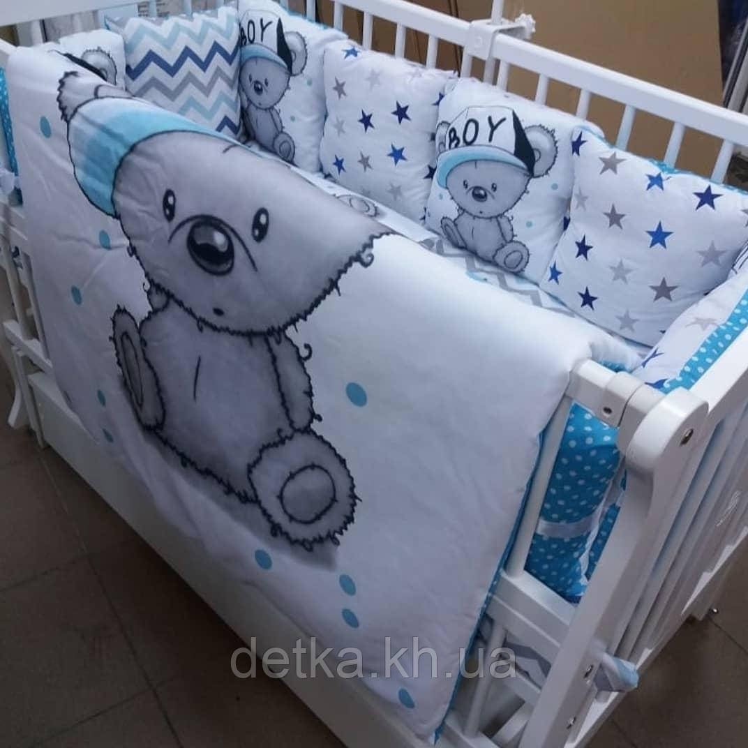 Комплект постельный в детскую кроватку, с защитой и балдахином