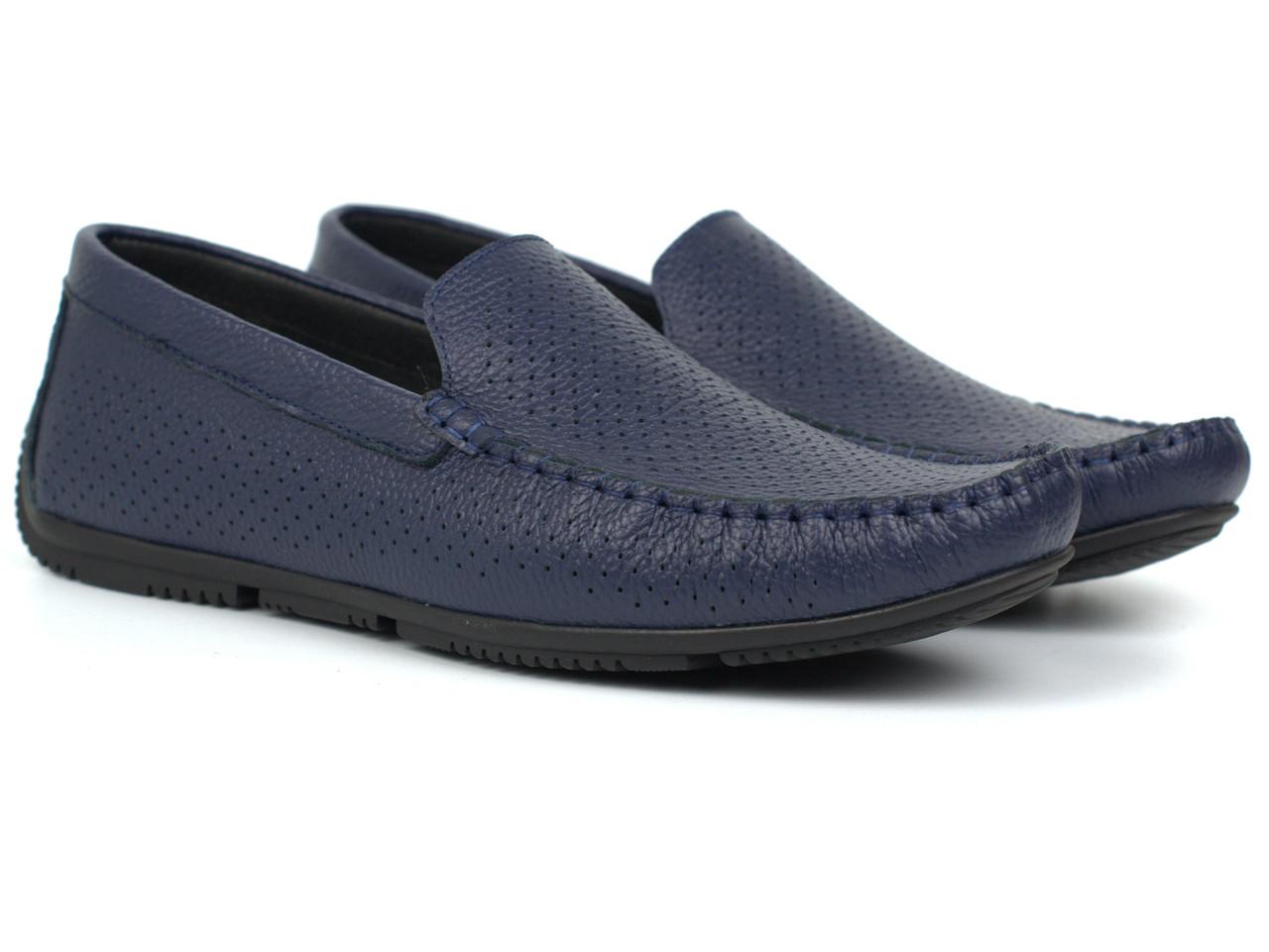 Мокасины мужские синие летняя мягкая кожаная обувь перфорированная Rosso Avangard Perf Blu Floto