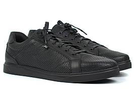 Літні кросівки чоловічі взуття великих розмірів шкіряні чорні кеди Rosso Avangard Puran Black Perf Leather BS