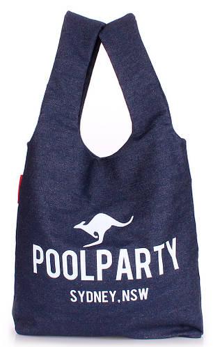 Женская повседневная коттоновая сумка POOLPARTY pool20-jeans синяя