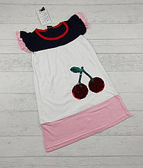 Детское платье с пайетками Вишенка для девочки 1,2,3,4,5 лет