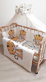 """Комплект постільний з бортиками і балдахіном в дитяче ліжечко """"Совушки"""""""