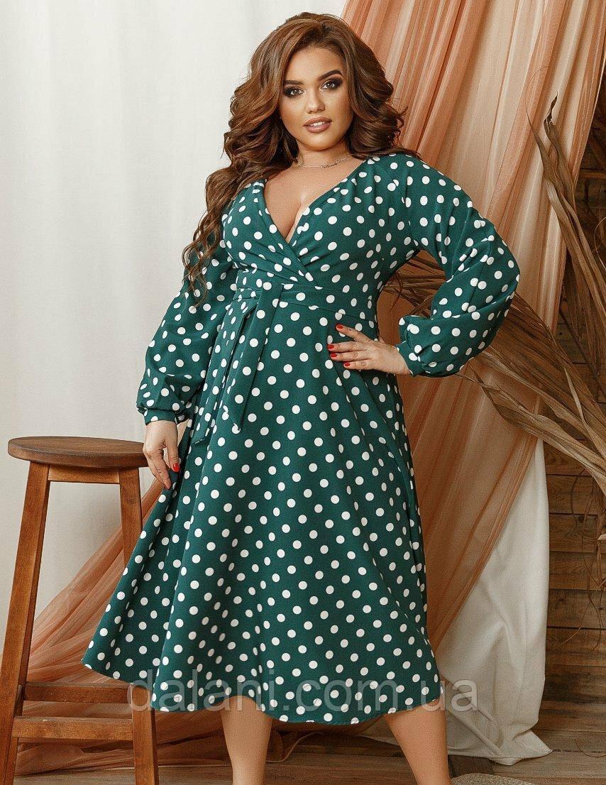 Женское зеленое платье миди с запахом в горошек