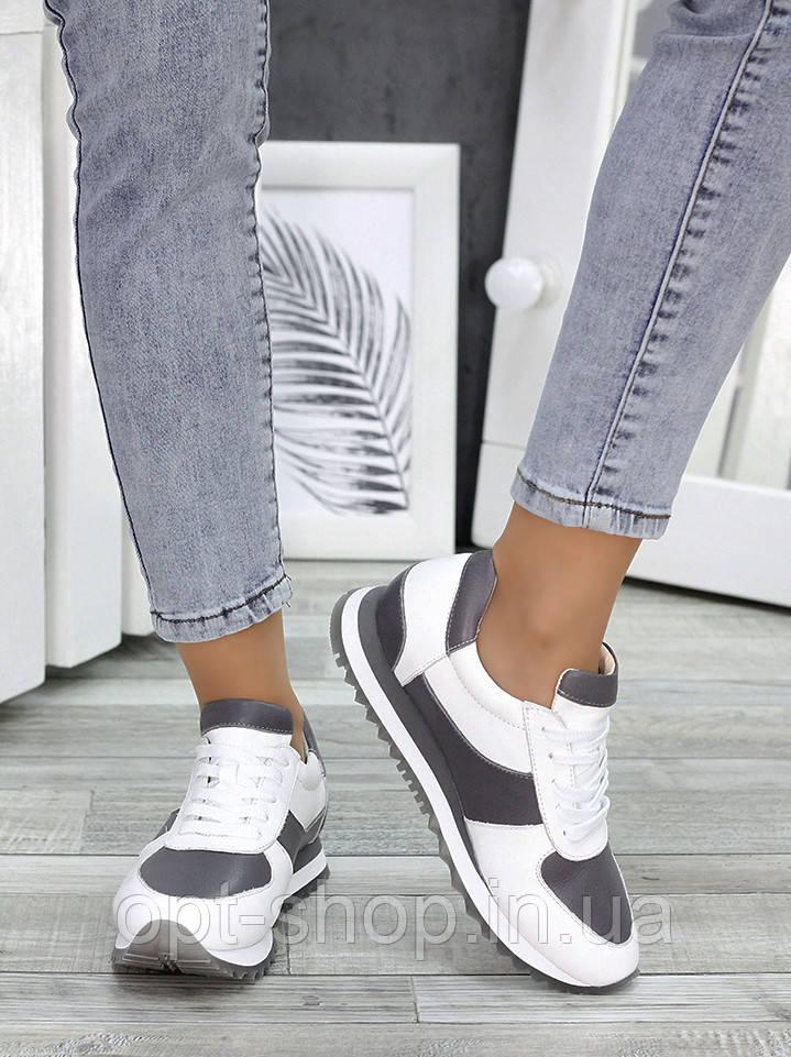 Кроссовки женские белые кожаные, женские кроссовки натуральная кожа (W-7516-серый)