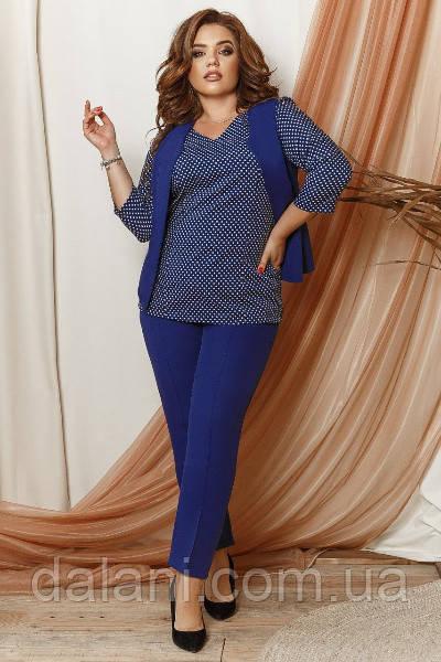 Женский брючный синий костюм-тройка в горох батал