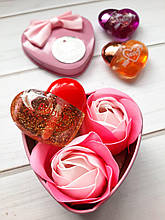 Подарунковий набір мило для ванни Троянди + блиск для губ