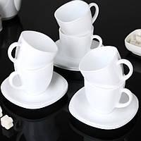 Чайний набір білий з квадратними блюдцями Luminarc CARINE White 6х220 мл (D4401)