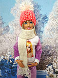 Одяг для ляльок Барбі - шапка і шарфік, фото 2