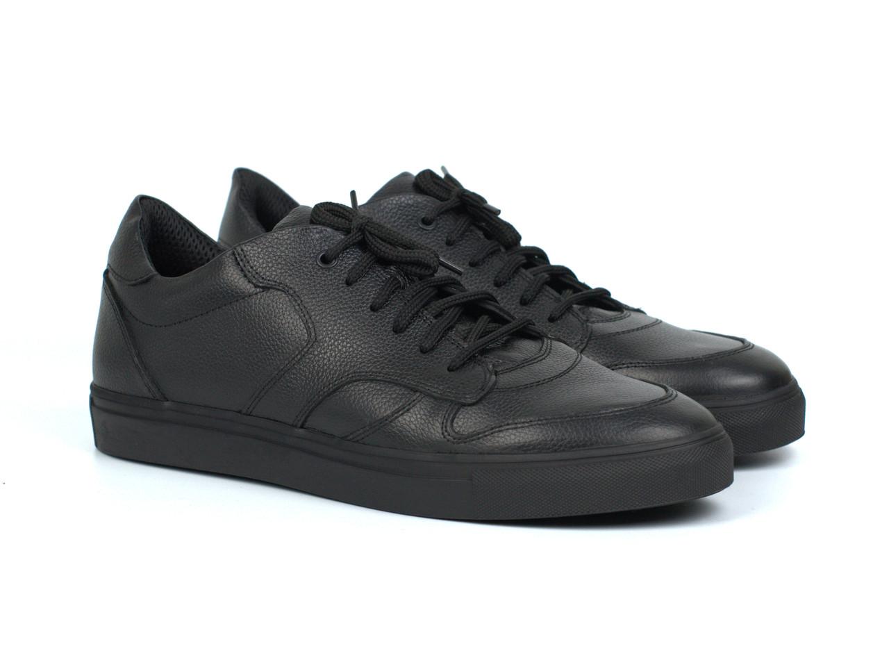 Кросівки чоловічі демісезонні чорні шкіряні взуття демісезонне Rosso Avangard ReBaKa Floto Leather TPR
