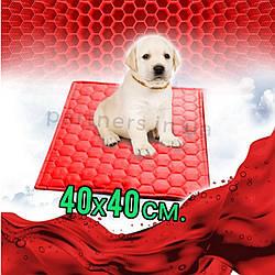 Многоразовая пеленка для собак 40х40 см непромокаемая КРАСНАЯ