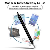 Универсальный Емкостный Металлический Двусторонний стилус 2 в 1 Black для телефона планшета, электронных книг