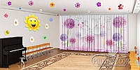 "Фото Штори в зал ""Метелики з тюльпанами"" 2,7 м*2,9 м (2 полотна по 1,45 м), тасьма"
