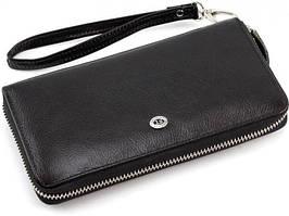 Клатч- портмоне на молнии кожаный ST Leather B13-7  Черный