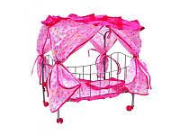Кроватка металлическая для кукол М 0476 с болдахином