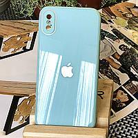 Чехол Color-Glass для Iphone XS бампер с защитой камер Turquoise