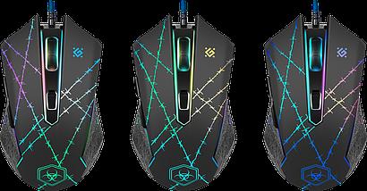 Мышь игровая с подсветкой Defender Forced GM-020L черная, проводная геймерская мышка для пк и ноутбука, фото 3