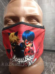 Защитная многоразовая маска с ярким принтом Леди Баг и Супер кот, универсальный размер