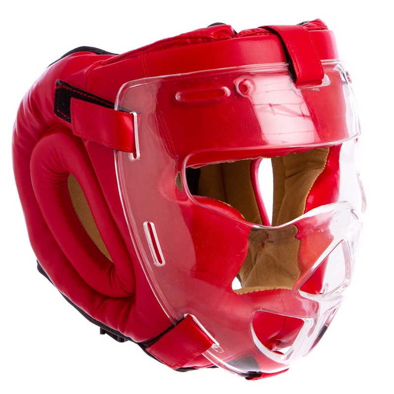 Шлем для единоборств с прозрачной маской FLEX MA-0719-BL (р-р S-XL, синий)